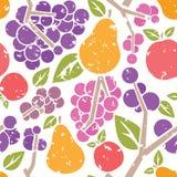 Αναδρομικό άνευ ραφής σχέδιο φρούτων διανυσματική απεικόνιση