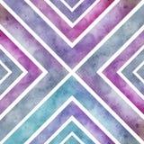 Αναδρομικό άνευ ραφής σχέδιο Watercolor με τα τετράγωνα, ο αφηρημένος Δρ χεριών Στοκ Φωτογραφίες