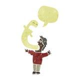 αναδρομικό άτομο κινούμενων σχεδίων που κατέχεται από το φάντασμα Στοκ εικόνα με δικαίωμα ελεύθερης χρήσης