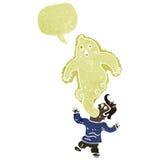 αναδρομικό άτομο κινούμενων σχεδίων που κατέχεται από το φάντασμα Στοκ φωτογραφία με δικαίωμα ελεύθερης χρήσης