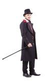Αναδρομικό άτομο μόδας με τη γενειάδα που φορά το μαύρο κοστούμι Στοκ Φωτογραφίες