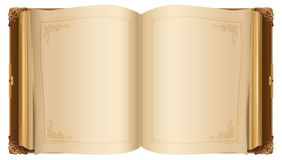 Αναδρομικό ανοικτό βιβλίο με τις κενές σελίδες Στοκ Εικόνα