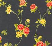 Αναδρομικό δαντελλών Floral άνευ ραφής εκλεκτής ποιότητας ύφος υποβάθρου υφάσματος σχεδίων μαύρο Στοκ φωτογραφία με δικαίωμα ελεύθερης χρήσης