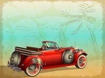 Αναδρομικό αυτοκίνητο στο θερινό υπόβαθρο με τους φοίνικες και seascape ελεύθερη απεικόνιση δικαιώματος