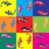 Αναδρομικό λαϊκό koi ψαριών απεικόνισης τέχνης Στοκ φωτογραφίες με δικαίωμα ελεύθερης χρήσης