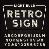 Αναδρομικό αλφάβητο σημαδιών Εκλεκτής ποιότητας επιστολές και αριθμοί τύπων λαμπών φωτός διανυσματική απεικόνιση