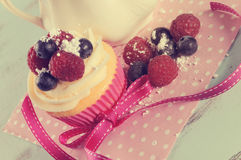 Αναδρομικό εκλεκτής ποιότητας φίλτρο cupcake με τα μούρα και την εκλεκτής ποιότητας ζάχαρη στοκ εικόνες