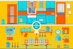 Αναδρομικό εσωτερικό κουζινών με τα έπιπλα, τα εργαλεία, τα τρόφιμα και τις συσκευές απεικόνιση αποθεμάτων