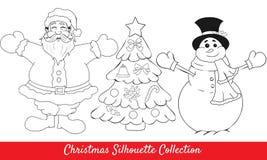 Αναδρομικό ευτυχές santa, χιονάνθρωπος, μορφές δέντρων Στοκ φωτογραφία με δικαίωμα ελεύθερης χρήσης