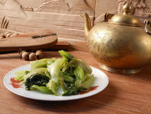 Αναδρομικό διακοσμητικό κινεζικό να δειπνήσει φυτικό πιάτο Στοκ εικόνα με δικαίωμα ελεύθερης χρήσης