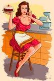 Αναδρομικό κέικ ψησίματος γυναικών Στοκ φωτογραφία με δικαίωμα ελεύθερης χρήσης