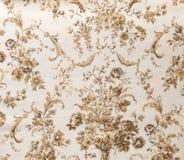 Αναδρομικό καφετί υπόβαθρο υφάσματος σχεδίων σεπιών Floral στοκ φωτογραφία