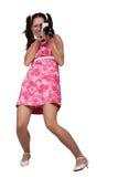 Αναδρομικό κορίτσι σε ένα ρόδινο φόρεμα Στοκ Εικόνα