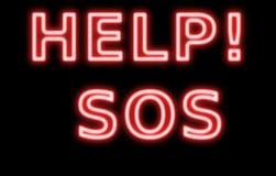 αναδρομικό κόκκινο σημαδιών νέου SOS βοήθειας Στοκ Εικόνα