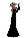 Αναδρομικό μαύρο φόρεμα Στοκ φωτογραφίες με δικαίωμα ελεύθερης χρήσης