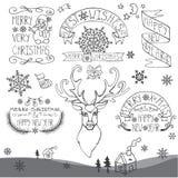 Αναδρομικό νέο έτος, καλλιγραφικά διακριτικά Χριστουγέννων καθορισμένα Στοκ εικόνα με δικαίωμα ελεύθερης χρήσης