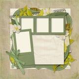 Αναδρομικό οικογενειακό album.365 πρόγραμμα. scrapbooking πρότυπα. Στοκ Εικόνες