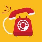 Αναδρομικό ορισμένο κόκκινο τηλεφωνικό χτύπημα ελεύθερη απεικόνιση δικαιώματος