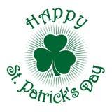 Αναδρομικό πράσινο εικονίδιο τριφυλλιού Τριφύλλι τριφυλλιών trefoil Πράσινο τριφύλλι φύλλων Σύμβολο εορτασμού ημέρας του ST Patri Στοκ φωτογραφία με δικαίωμα ελεύθερης χρήσης