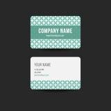 Αναδρομικό πρότυπο σχεδίου επαγγελματικών καρτών hipster Πράσινο χρώμα Στοκ εικόνα με δικαίωμα ελεύθερης χρήσης