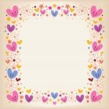 Αναδρομικό πλαίσιο καρδιών και λουλουδιών Στοκ φωτογραφία με δικαίωμα ελεύθερης χρήσης