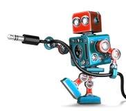 Αναδρομικό ρομπότ με το στερεοφωνικό ακουστικό γρύλο Περιέχει το μονοπάτι ψαλιδίσματος διανυσματική απεικόνιση