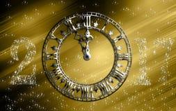 Αναδρομικό ρολόι 2017 καλή χρονιά Στοκ Φωτογραφίες