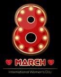 Αναδρομικό σημάδι νέου υπό μορφή σχήματος οκτώ Καμμένος οκτώ Εκλεκτής ποιότητας στις 8 Μαρτίου αριθμού Ημέρα των διεθνών γυναικών Στοκ Φωτογραφίες