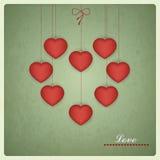 Αναδρομικό σχέδιο της κάρτας βαλεντίνων. Διανυσματικό σχέδιο αγάπης Στοκ Εικόνες
