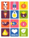 Αναδρομικό σύνολο βασικών βιταμινών από τα τρόφιμα Στοκ εικόνες με δικαίωμα ελεύθερης χρήσης