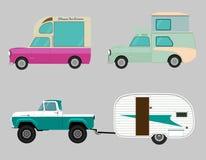 Αναδρομικό σύνολο εικονιδίων αυτοκινήτων Βαγόνι εμπορευμάτων, ρυμουλκό Στοκ Φωτογραφίες