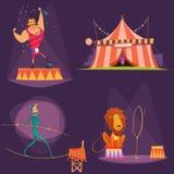 Αναδρομικό σύνολο εικονιδίων κινούμενων σχεδίων τσίρκων Στοκ φωτογραφία με δικαίωμα ελεύθερης χρήσης
