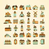 Αναδρομικό σύνολο εικονιδίων σπιτιών ελεύθερη απεικόνιση δικαιώματος