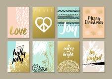 Αναδρομικό σύνολο καρτών χίπηδων boho hipster Χαρούμενα Χριστούγεννας απεικόνιση αποθεμάτων