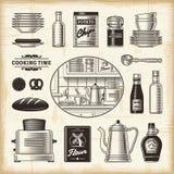 Αναδρομικό σύνολο κουζινών Στοκ Εικόνες