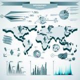 αναδρομικό σύνολο infographics Παγκόσμιος χάρτης και γραφική παράσταση πληροφοριών Στοκ εικόνες με δικαίωμα ελεύθερης χρήσης