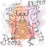 Αναδρομικό τηλεφωνικό watercolor Στοκ φωτογραφία με δικαίωμα ελεύθερης χρήσης