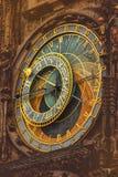 Αναδρομικό τονισμένο παλαιό αστρονομικό ρολόι της Πράγας Στοκ φωτογραφία με δικαίωμα ελεύθερης χρήσης