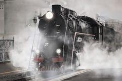 αναδρομικό τραίνο ατμού Στοκ Εικόνες