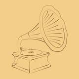 Αναδρομικό τυποποιημένο σκιαγραφημένο gramophone Στοκ φωτογραφία με δικαίωμα ελεύθερης χρήσης