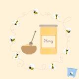 Αναδρομικό υγιές φυσικό διάνυσμα μελιού βάζων μελισσών κινούμενων σχεδίων Στοκ Φωτογραφία