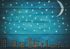 Αναδρομικό υπόβαθρο επιτροπής νυχτερινού ουρανού ξύλινο Στοκ φωτογραφίες με δικαίωμα ελεύθερης χρήσης