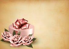 Αναδρομικό υπόβαθρο διακοπών με τα ρόδινα τριαντάφυλλα Στοκ εικόνες με δικαίωμα ελεύθερης χρήσης