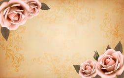 Αναδρομικό υπόβαθρο με τα όμορφα ρόδινα τριαντάφυλλα με το Bu Στοκ Εικόνες
