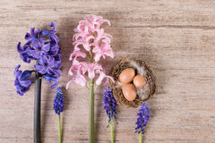 Αναδρομικό υπόβαθρο Πάσχας με τα λουλούδια άνοιξη και τη φωλιά Πάσχας Στοκ φωτογραφίες με δικαίωμα ελεύθερης χρήσης