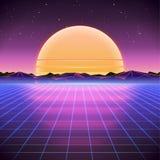 αναδρομικό υπόβαθρο του Sci Fi της δεκαετίας του '80 με την ανατολή ή το ηλιοβασίλεμα διανυσματική απεικόνιση