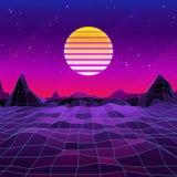 αναδρομικό υπόβαθρο του Sci Fi της δεκαετίας του '80 με τον ήλιο και τα βουνά ελεύθερη απεικόνιση δικαιώματος