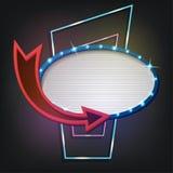 Αναδρομικό ύφος πινακίδων με τους λαμπτήρες Εκλεκτής ποιότητας έμβλημα με τις λάμπες φωτός Στοκ Εικόνες