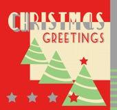 Αναδρομικό ύφος του Art Deco καρτών Χριστουγέννων Στοκ Εικόνα