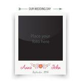 Αναδρομικό polaroid πλαισίων γαμήλιων φωτογραφιών Πρότυπο για Στοκ φωτογραφίες με δικαίωμα ελεύθερης χρήσης